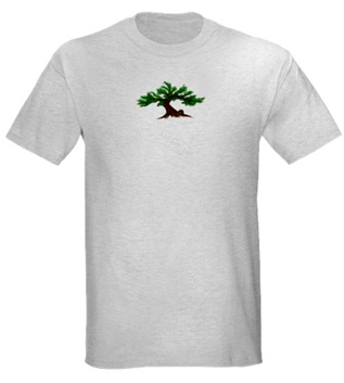 The Dawning Bonsai on a Light T-Shirt